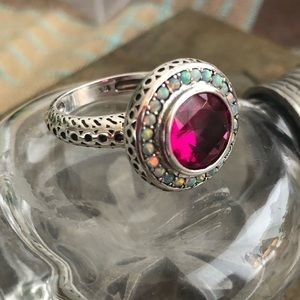 Jewelry - Ruby and Fire Opals Sterling Silver Ring Sz 6